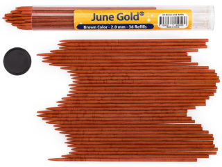 36 Pack of 2.0 mm Brown Colored Lead Refills