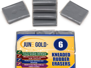 6 Pack of Gray Kneaded Rubber Erasers