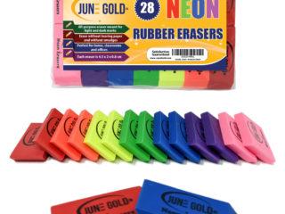 28 Neon Rubber Erasers